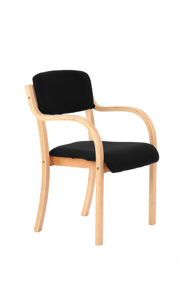 Wooden meeting chair with arms