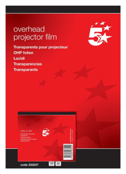 5 Star OHP Film Write-on 85 micron A4 Clear [Pack 100]