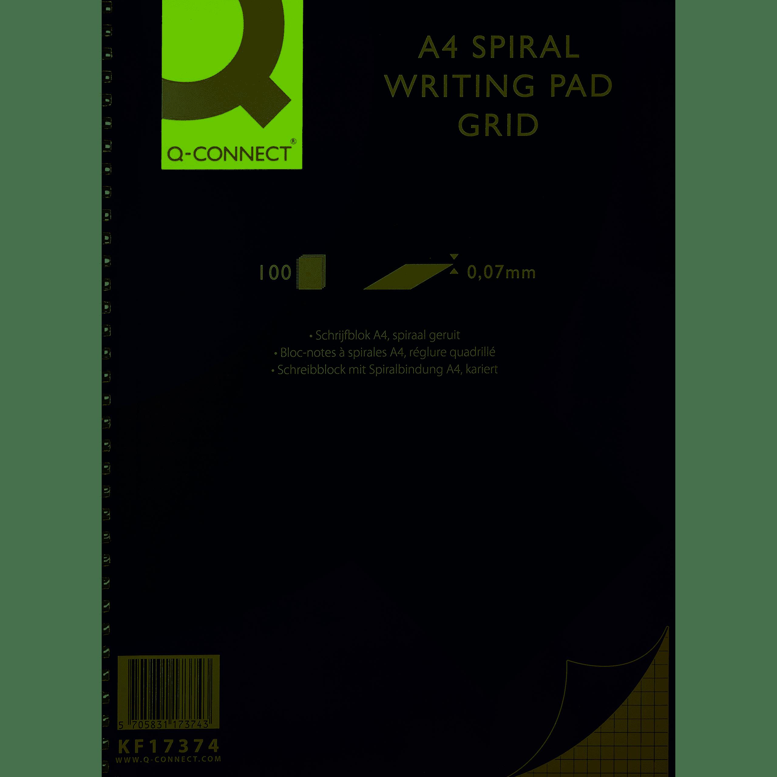 Q-Connect A4 Spiral Pad Quad 5mm 100 Sheets PK5