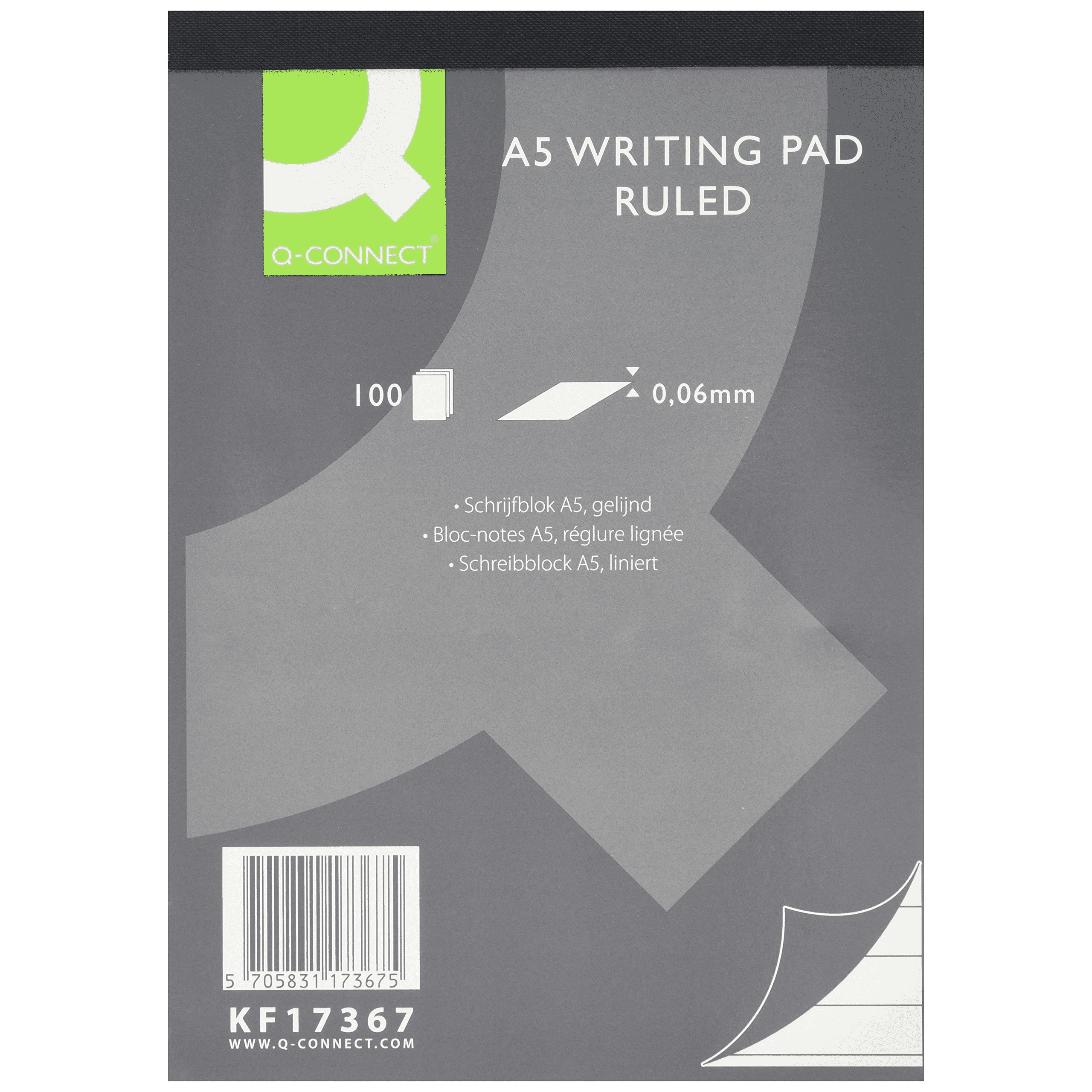 Q-Connect A5 Refill Pad Ruled 70gsm 100 Sheets PK5
