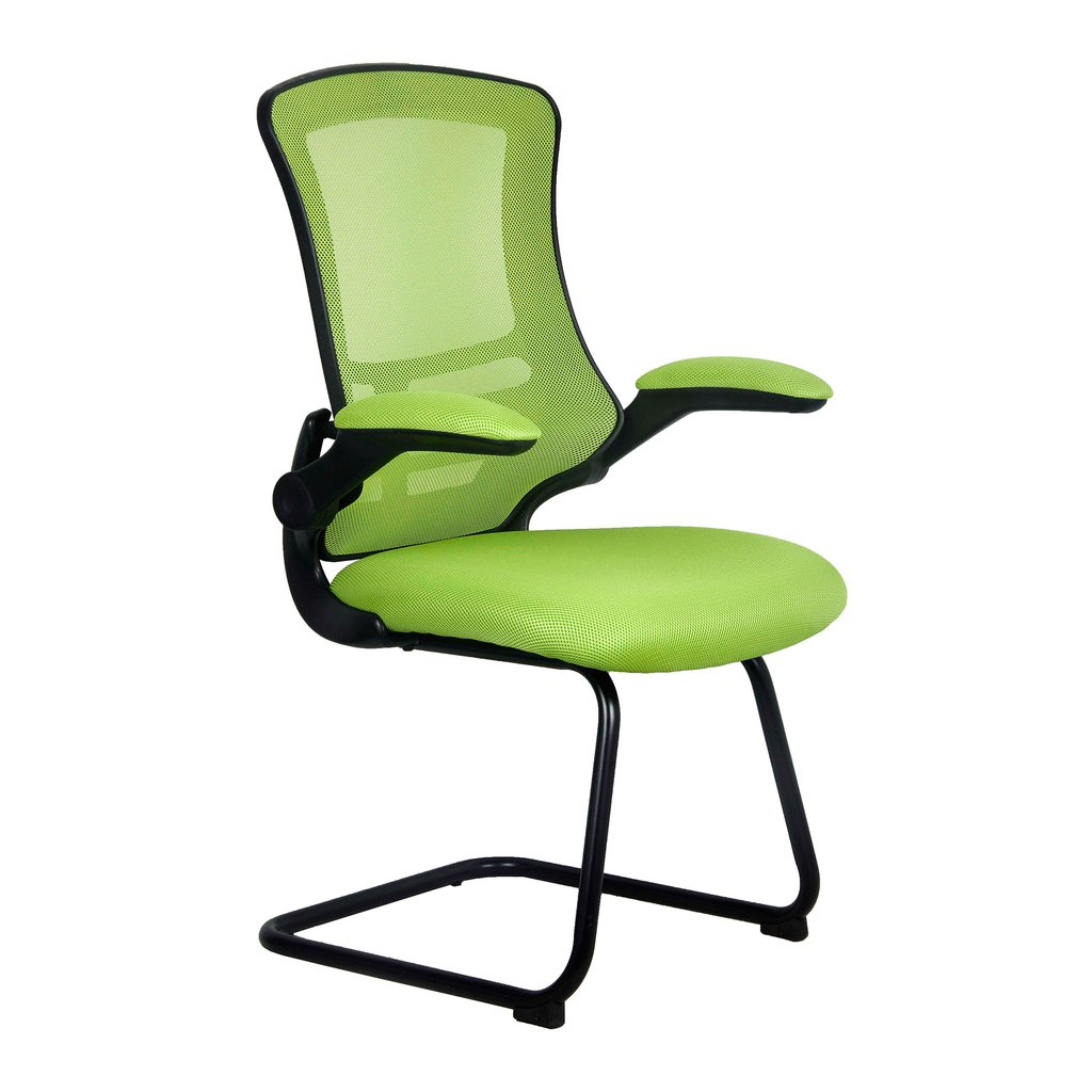 LUNA CANTILEVER CHAIR BLK FRAME GREEN