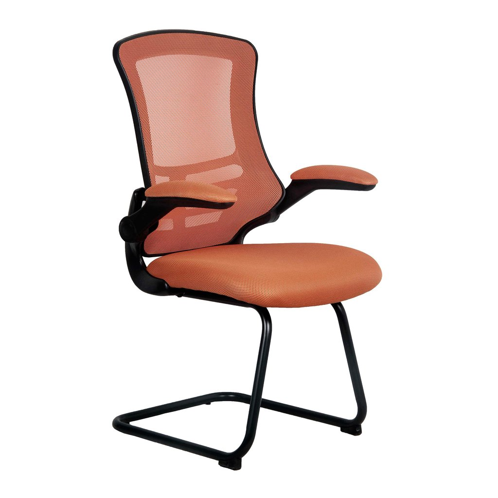 LUNA CANTILEVER CHAIR BLK FRAME ORANGE