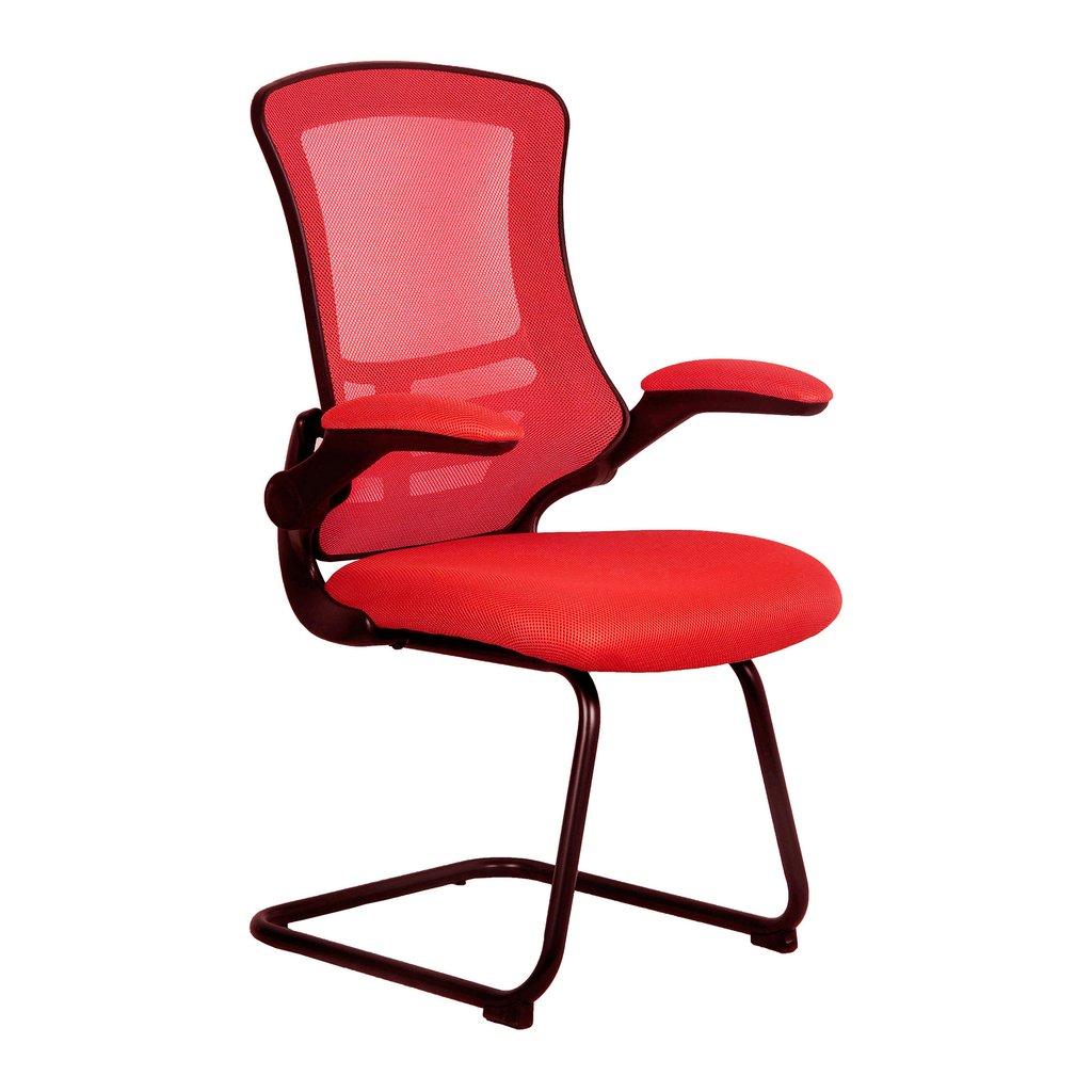LUNA CANTILEVER CHAIR BLK FRAME RED