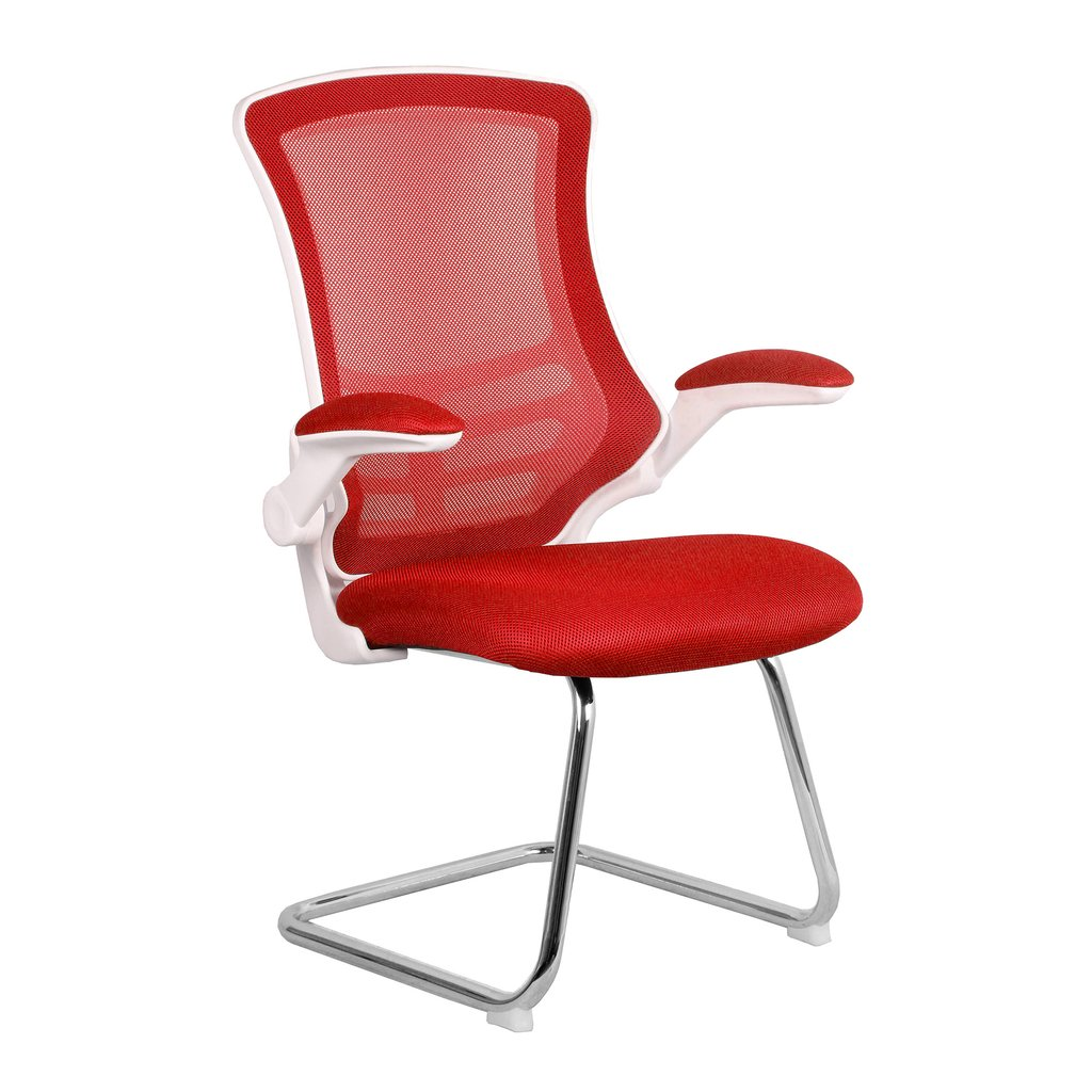 LUNA CANTILEVER CHAIR WHITE FR RED