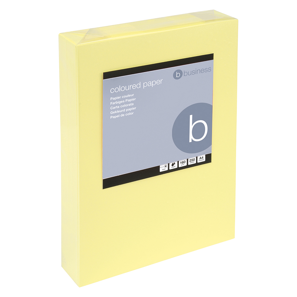 5 Star Office Coloured Card Multifunctional 160gsm A4 Light Yellow [250 Sheets]