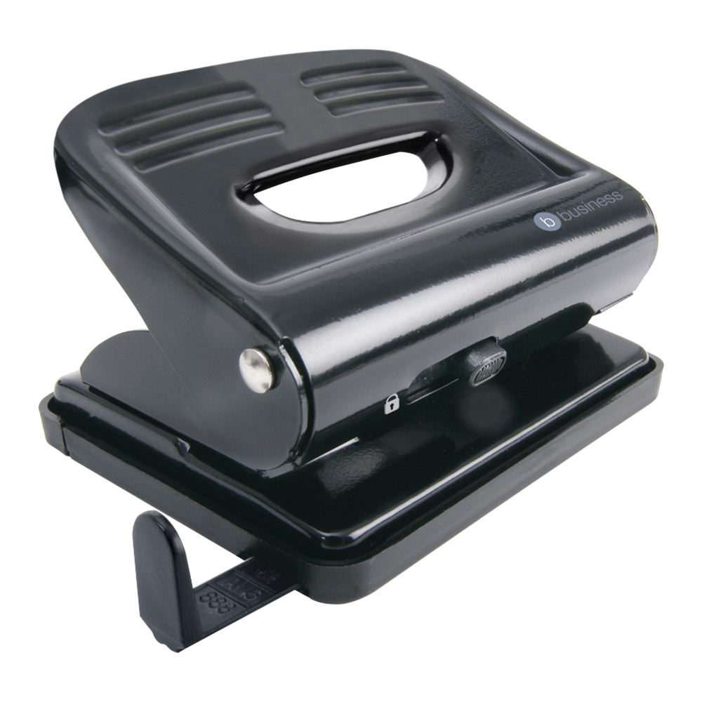 5 Star Office Punch 2-Hole Plastic Base Metal Handle Capacity 20x 80gsm Black