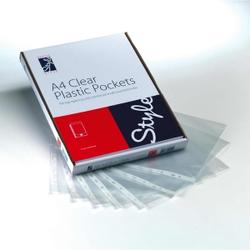 Style Optima Plastic Pockets A4 40micron Clear (100)