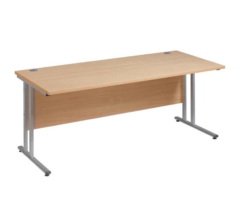 Maestro 25 SL straight desk 1200mm x 800mm - silver cantilever frame and beech top