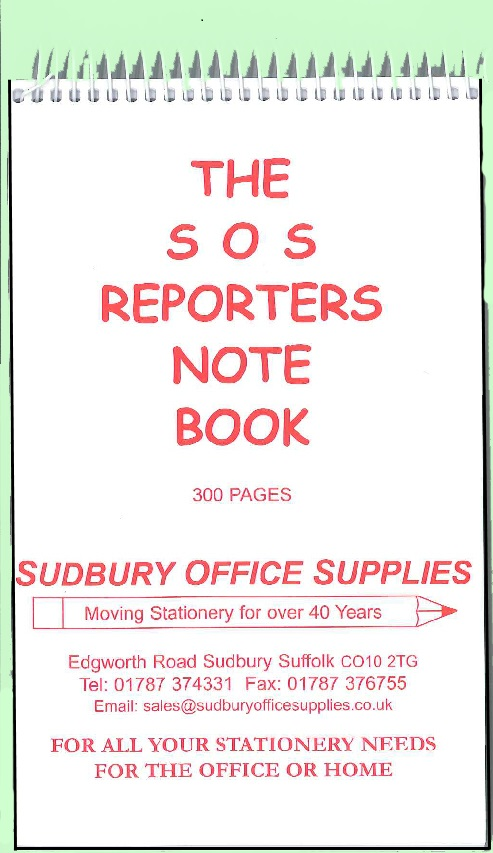 SOS REPORTERS NOTE BOOK - MULIT BUY DISCOUNT AVAILABLE!!