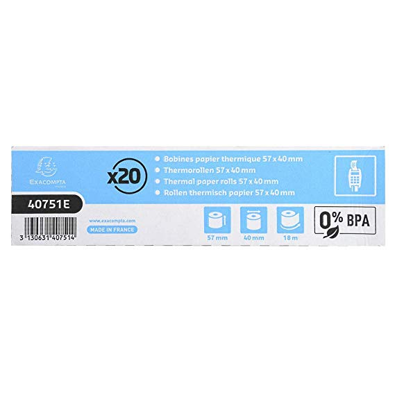 THERMAL ROLLS 57 x 40mm BPA FREE (20)