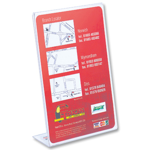 DEFLECTO SLANTED SIGN HOLDER A5 CLEAR