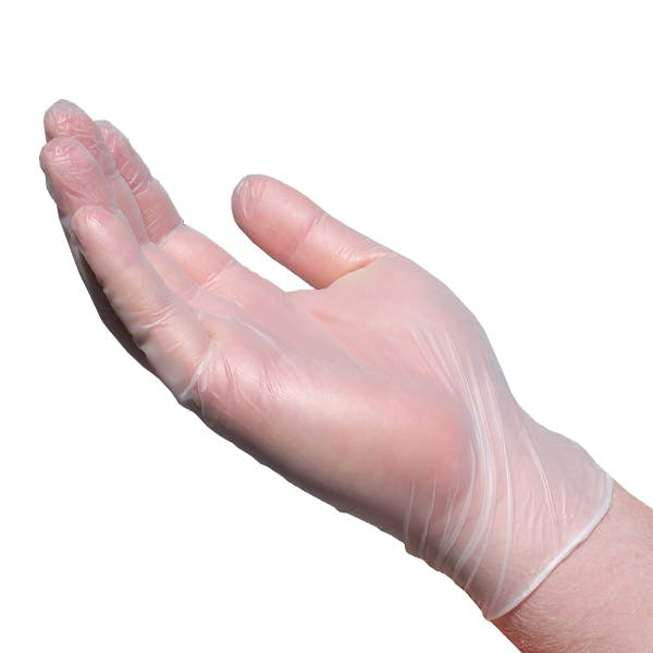 DISPOSABLE VINYL GLOVES CLEAR LARGE