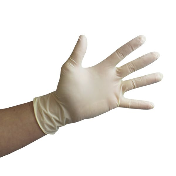 CLEAR LATEX LARGE DISPOSABLE GLOVES
