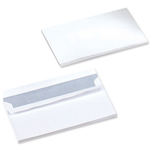 DL WHITE WOVE 90gsm PRESS SEAL ENVELOPE (1000)
