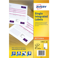 Avery Single Integrated Label 85x54mm Pk100 L4832-100