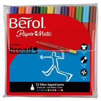 Berol Colourbroad Pen Assorted Water Based Ink Wallet of 12 CB12W12 S0375410