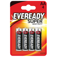 Eveready Super Heavy Duty AA Batteries    R6B4UP
