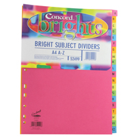 Concord Bright Subject Divider A4 A-Z Assorted 52499
