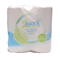 2Work Toilet Roll 2 Ply 200 Sheet Pk 36
