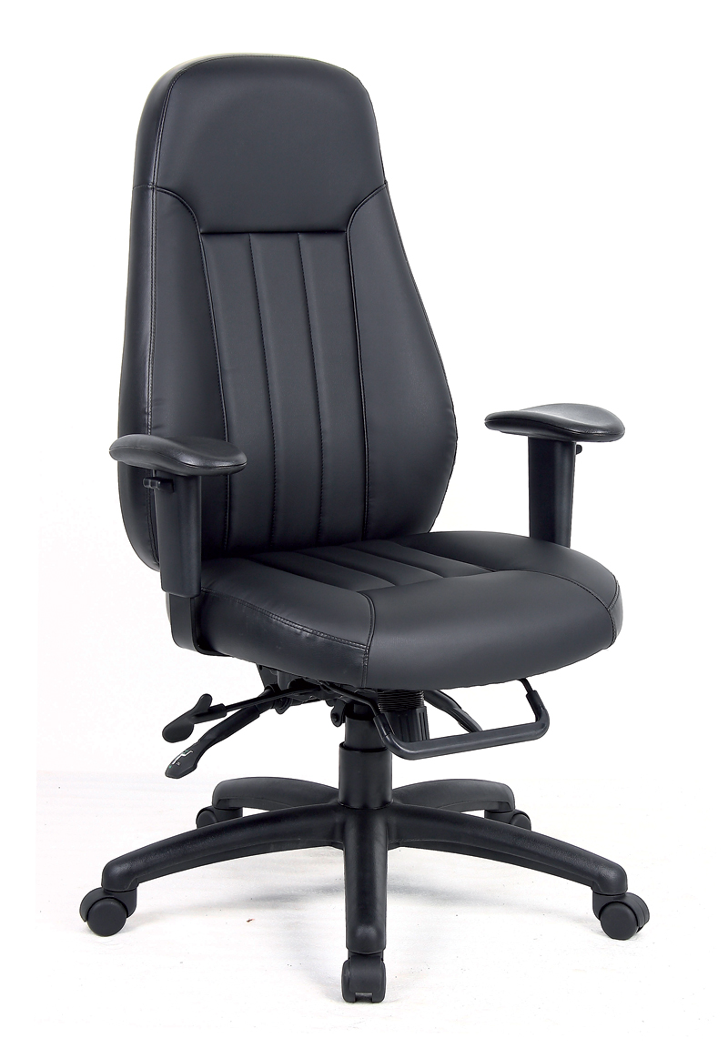 Zeus managers chair in black leather fac