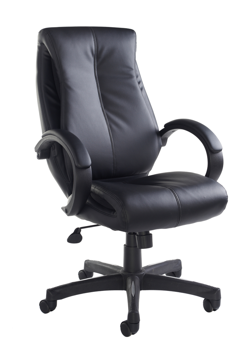 Nantes Leather Faced Manager Chair - Blk